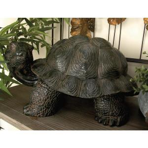 10 inch Standing Tortoise Decorative Sculpture in Brown by