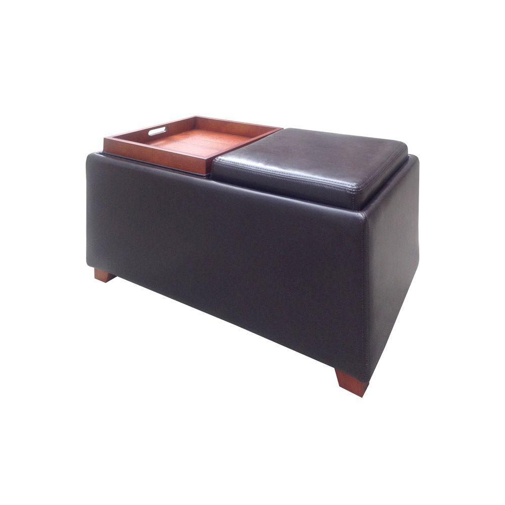 Unbranded Brexley Double Storage Leather Ottoman with Tray in Espresso