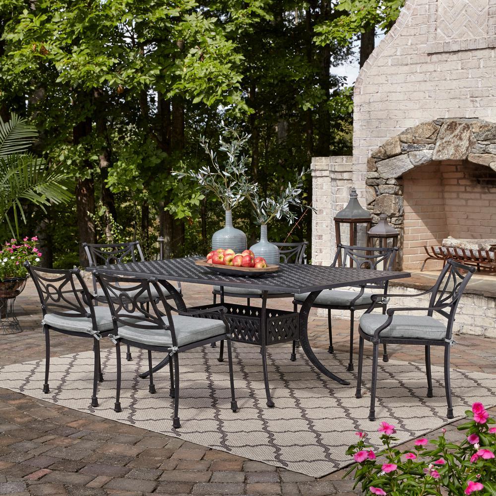 La Jolla Gray 7-Piece Aluminum Rectangular Outdoor Dining Set with Gray Cushions