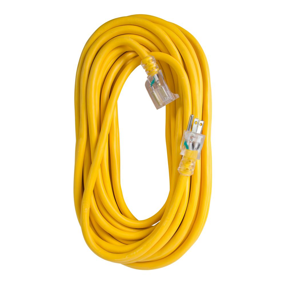50 ft. 12/3 SJTW 15 Amp/125-Volt Outdoor Single Receptacle Extension Cord,