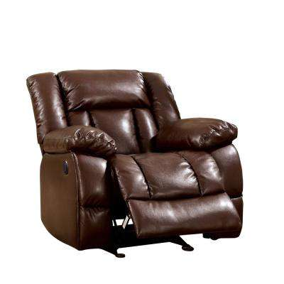 Britta Brown Bonded Leatherette Match Recliner Chair