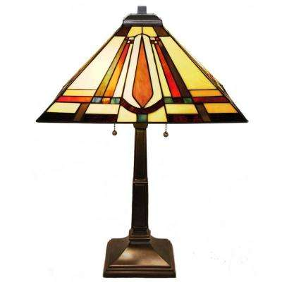 23.5 in. Multi-Colored Table Lamp with Stained Glass Mission Style Shade