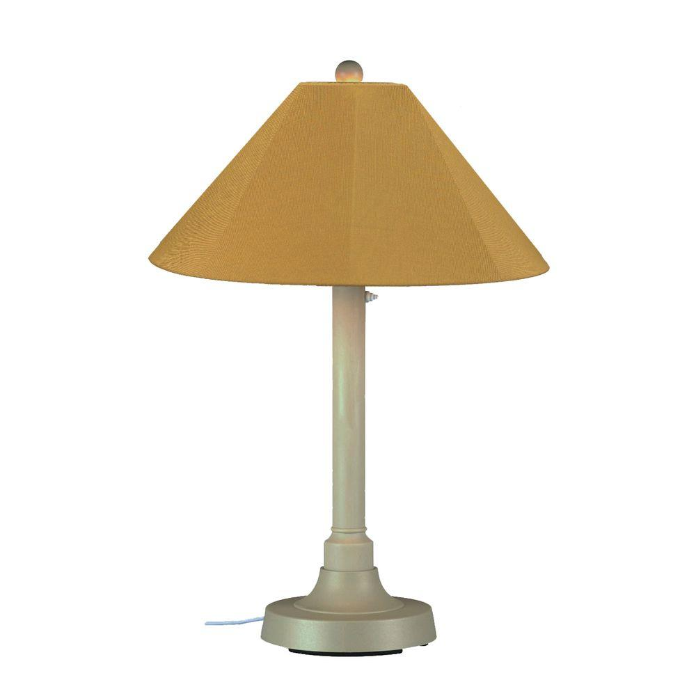 Patio Living Concepts San Juan 34 in. Outdoor Bisque Table Lamp with Brass Shade