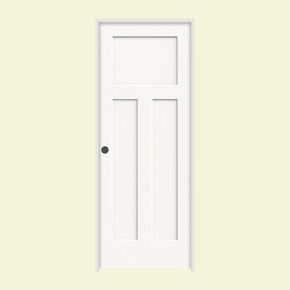 JELD-WEN 28 in. x 80 in. Craftsman White Painted Right-Hand Smooth Molded Composite MDF Single Prehung Interior Door
