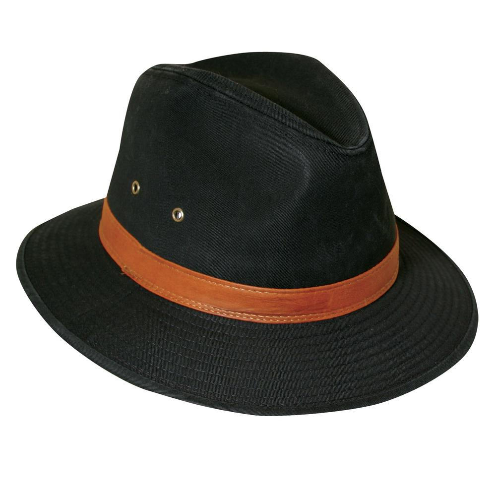 bb19eb93 Stetson Washed Twill Safari with Leather-863L-BLK3 - The Home Depot