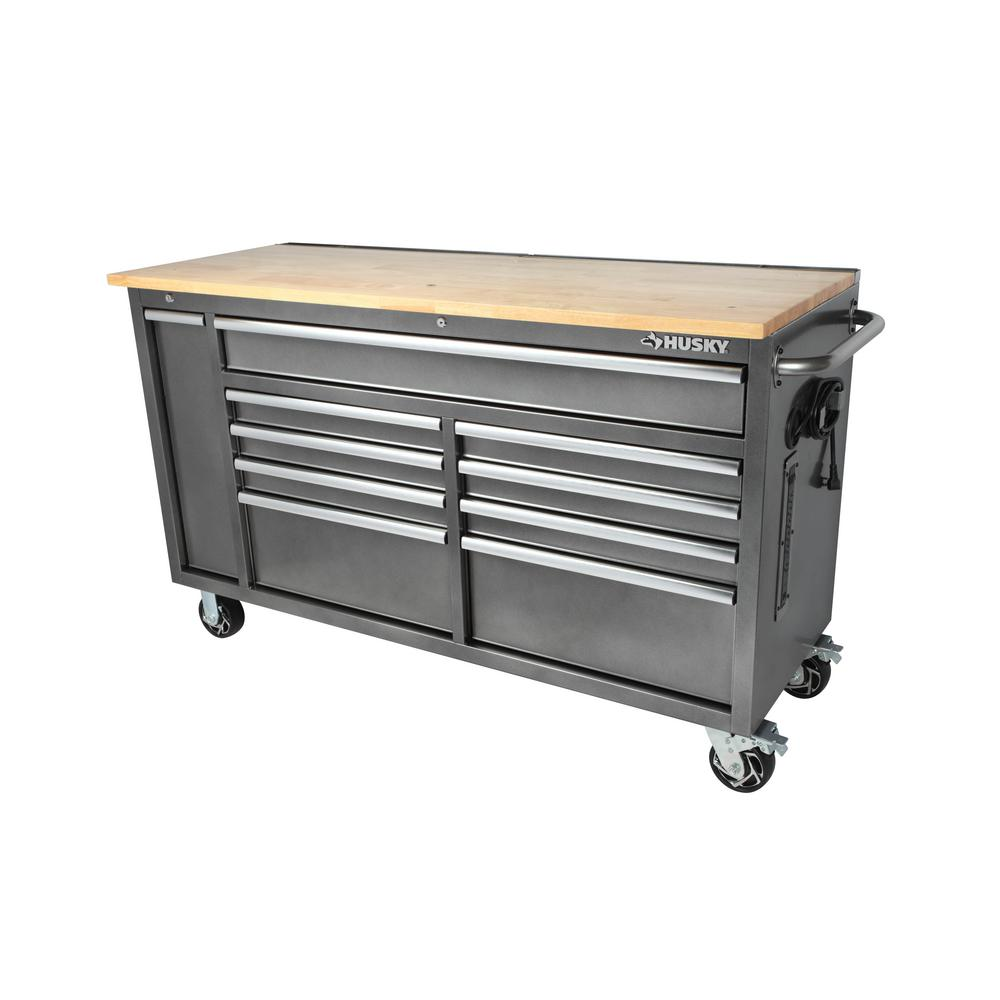 Marvelous Husky 61 In W 10 Drawer Deep Tool Chest Mobile Workbench In Metallic Silver With Sliding Vertical Bin Storage Drawer Caraccident5 Cool Chair Designs And Ideas Caraccident5Info