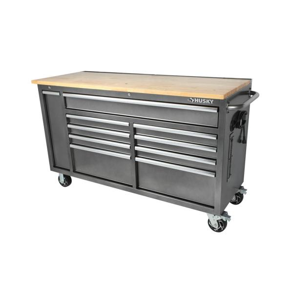 61 in. W 10-Drawer, Deep Tool Chest Mobile Workbench in Metallic Silver with Sliding Vertical Bin Storage Drawer