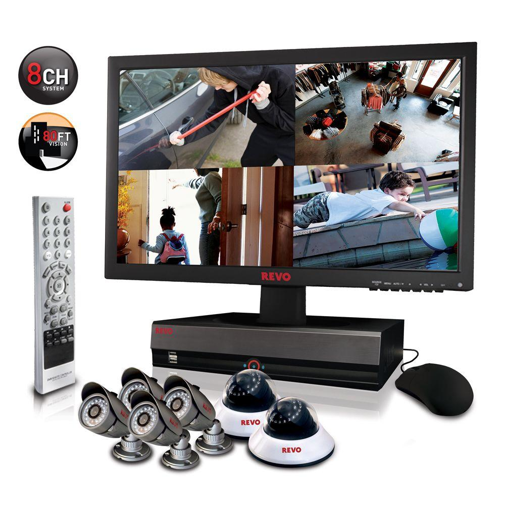 Revo 8-Channel 2TB DVR4 Surveillance System with 21.5 in. Monitor and (6) 600 TVL 80 ft. Night Vision Cameras