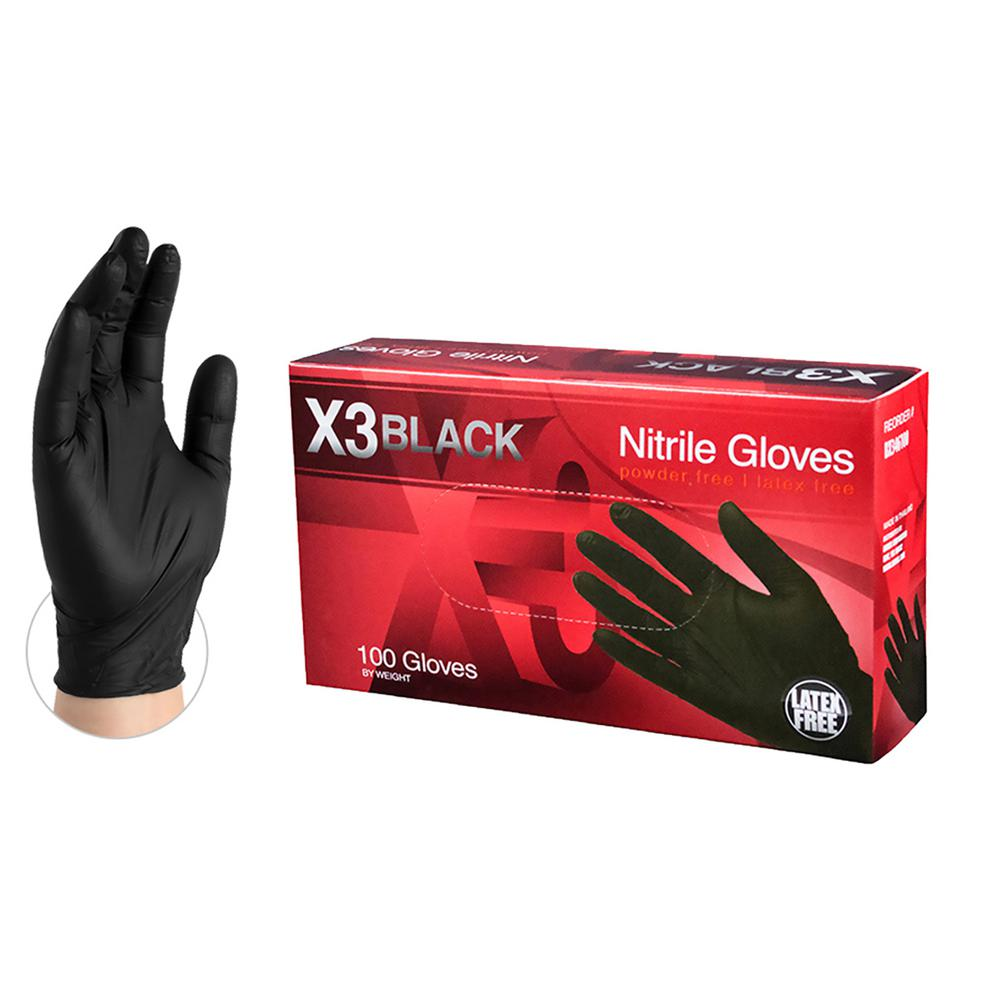 BX3 Black Nitrile Industrial Latex Free Disposable Gloves (Box of 100)