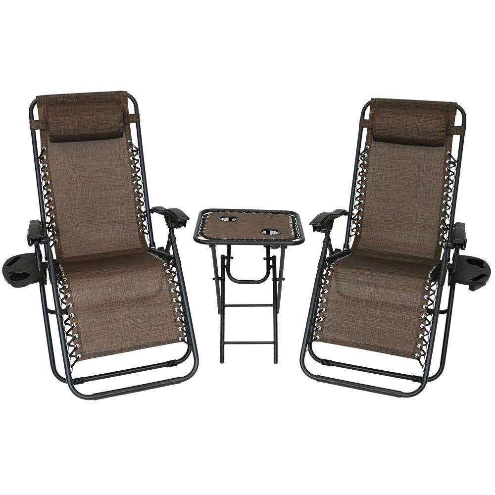 Zero Gravity Dark Brown Sling Beach Chairs with Side Table (Set
