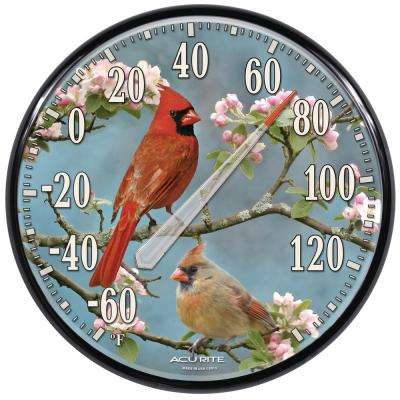 12.5 in. Cardinal Birch Tree Analog Thermometer