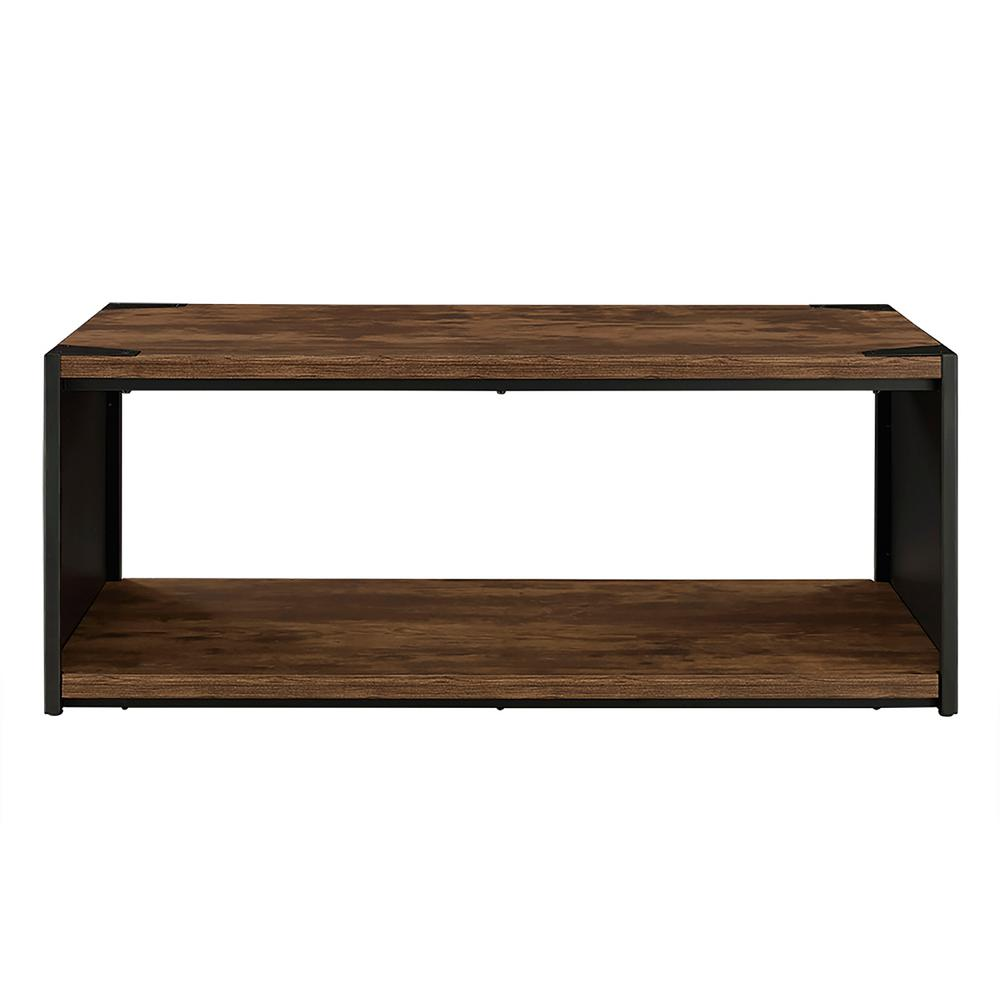 Walker Edison Furniture Company Rustic Brown Storage Coffee Table Hd48spctrw The Home Depot