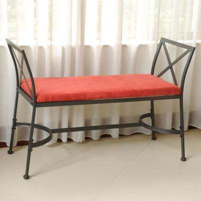 International Caravan Black Mat Iron Foot-of-Bed Bench with Microsuede Cushion
