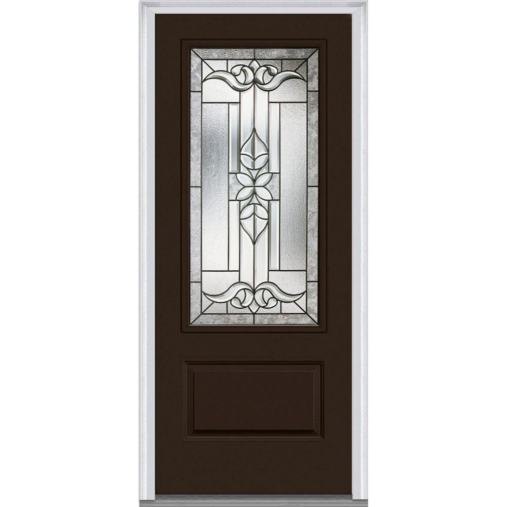 36 in. x 80 in. Cadence Left-Hand 3/4-Lite Decorative 1-Panel Classic Painted Fiberglass Smooth Prehung Front Door