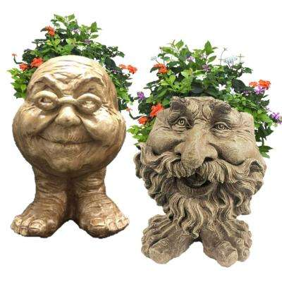 12 in. Stone Wash Ole Salty and Grandma Violet the Muggly Face Statue Planter Holds 4 in. Pot (2-Pack)