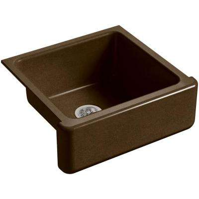 Whitehaven Undermount Farmhouse Apron-Front Cast Iron 24 in. Single Basin Kitchen Sink in Black 'n Tan