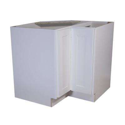 Brookings Plywood Assembled Shaker 36x34.5x24 in. 2-Door Lazy Susan Corner Kitchen Cabinet in White