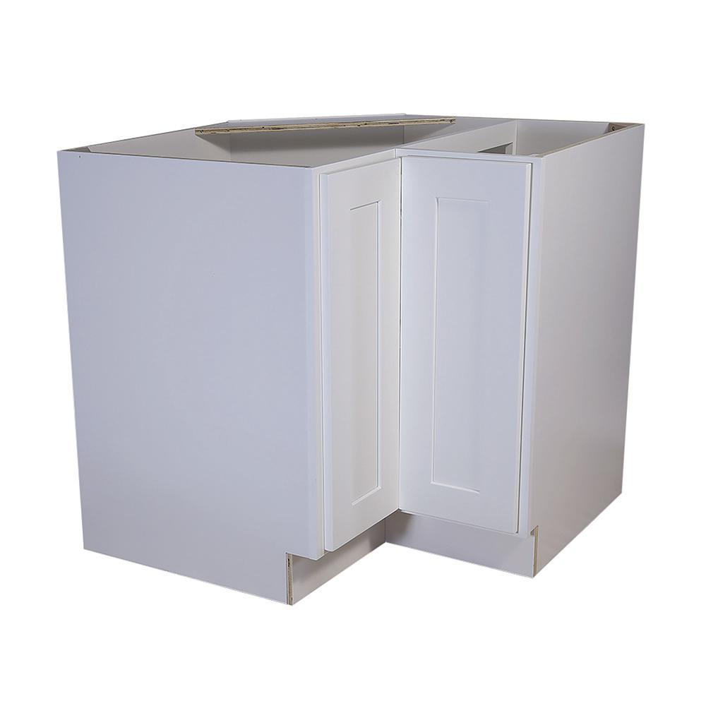 Design House Brookings Embled 36x24x34 5 In Corner Base Cabinet With Double Doors And 2 Shelf Lazy Susan White