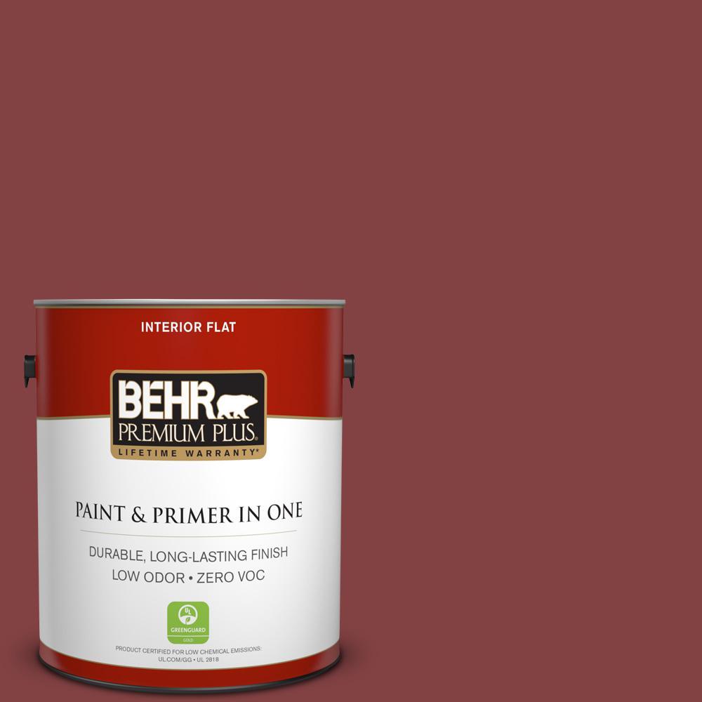 BEHR Premium Plus 1-gal. #ECC-36-3 Red Bluff Zero VOC Flat Interior Paint