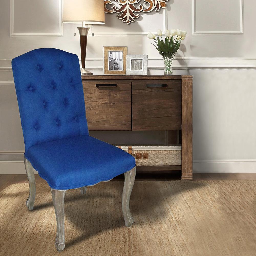 Kerri Cobalt Linen Dining Chair (Set Of 2)