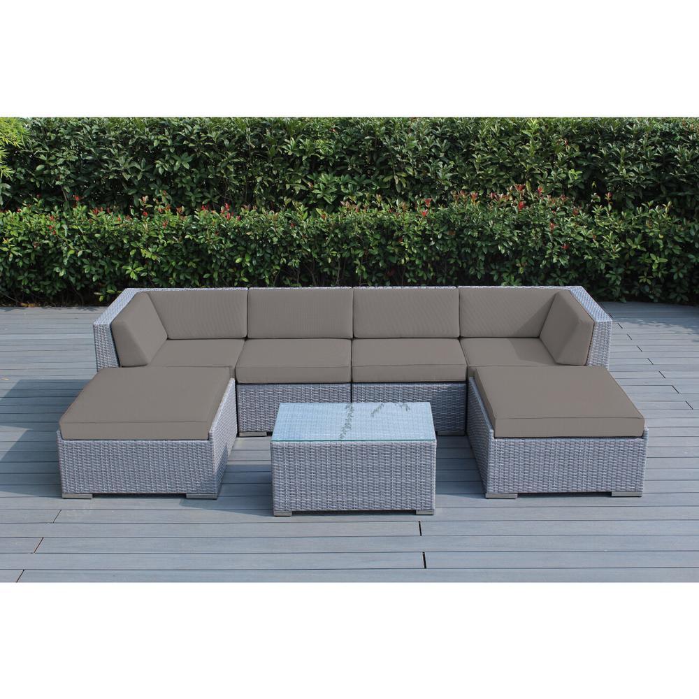 Ohana Gray 7-Piece Wicker Patio Seating Set with Sunbrella Taupe Cushions