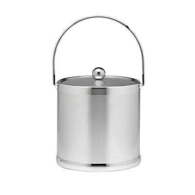 Americano 3 Qt. Brushed Chrome Ice Bucket and Lid, Metal Bale Handle