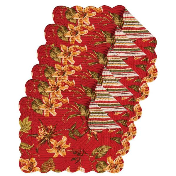 C&F HOME Lily Garden Red Placemat (Set of 6) 862621764S6