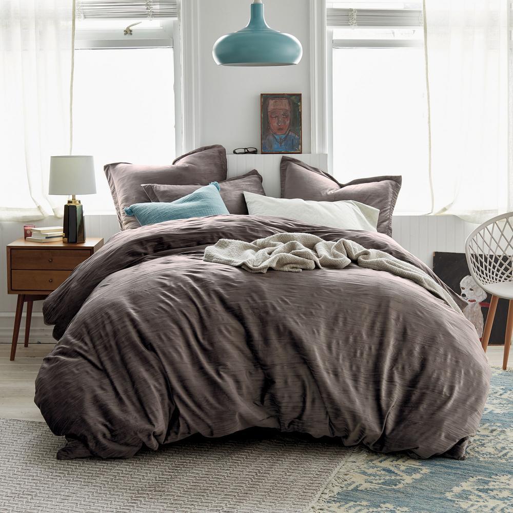 Easton Velvet 3-Piece Cotton Blend Full Duvet Cover Set in Taupe