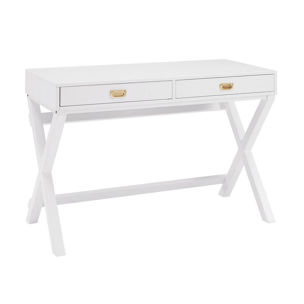 Home Decorators Desk: Nathan James Leighton White 2-Drawer Writing Desk With