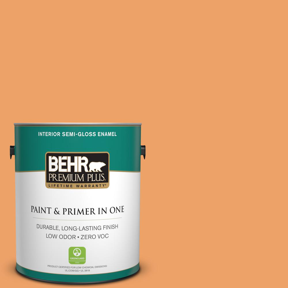 BEHR Premium Plus 1 gal. #270D-5 Adventure Orange Semi-Gloss Enamel Zero VOC Interior Paint and Primer in One