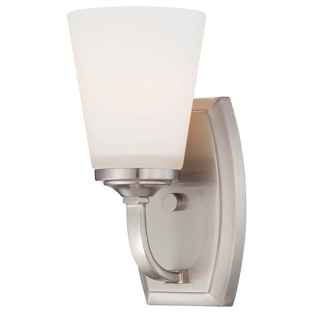 Overland Park 1-Light Brushed Nickel Bath Light