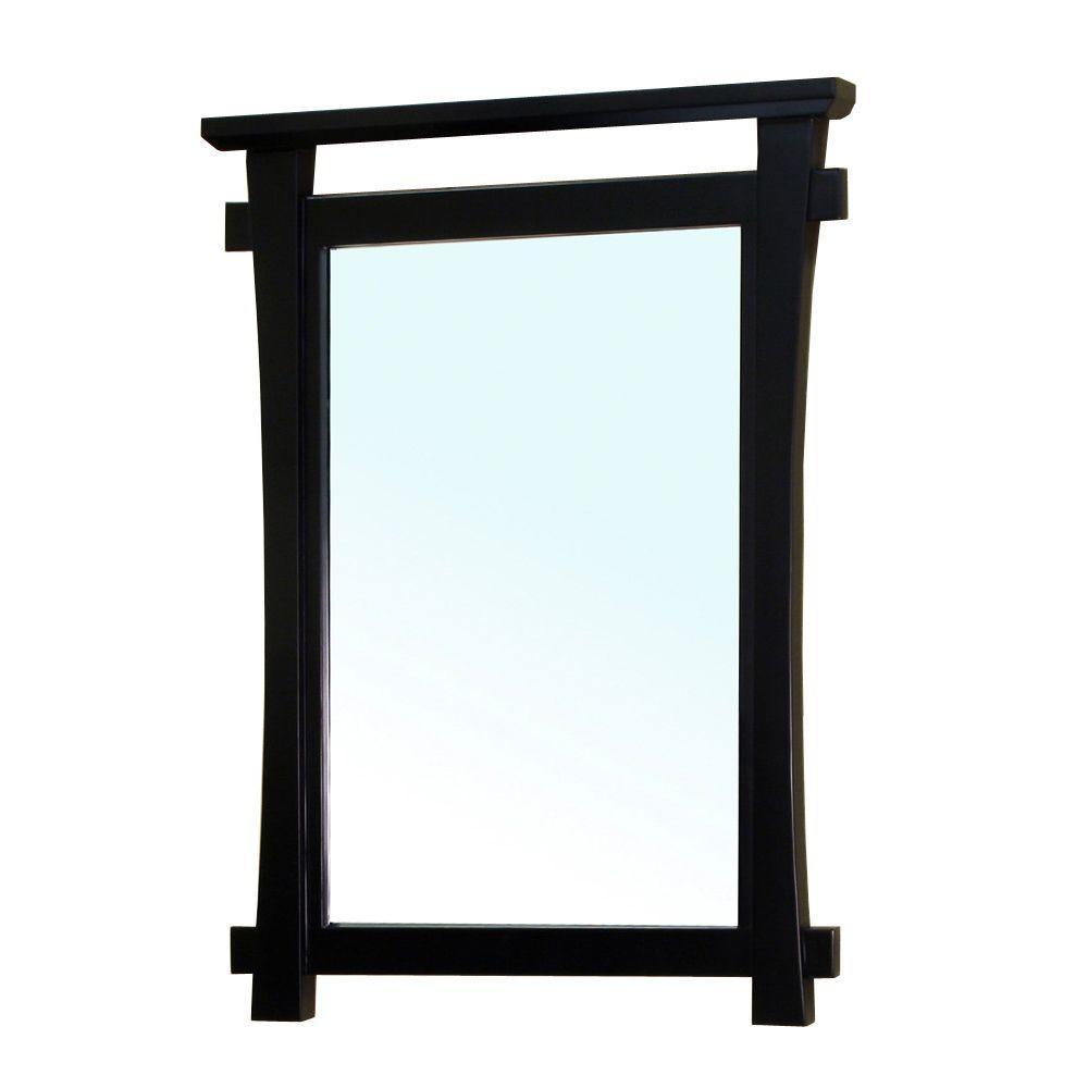 Milton 38 in. L x 28 in. W Solid Wood Frame Wall Mirror in Black