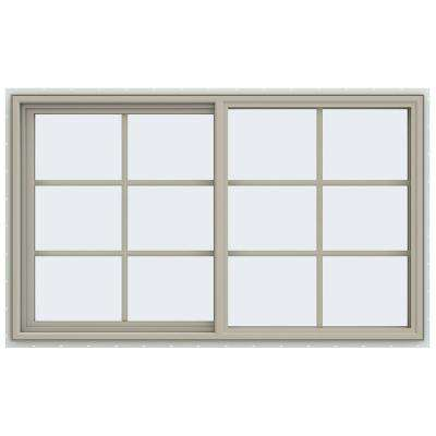 59.5 in. x 35.5 in. V-4500 Series Left-Hand Sliding Vinyl Window with Grids - Tan