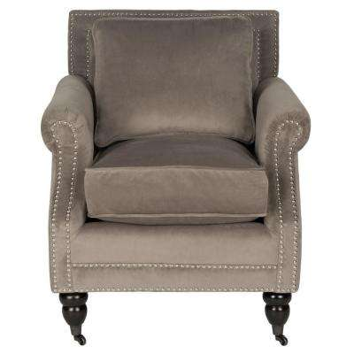 Karsen Mushroom Taupe/Espresso Cotton Blend Arm Chair