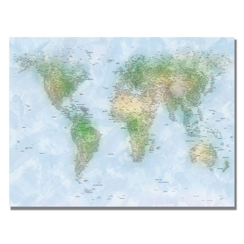 18 in x 24 in watercolor cities world map canvas art mt0023 watercolor cities world map canvas art gumiabroncs Gallery