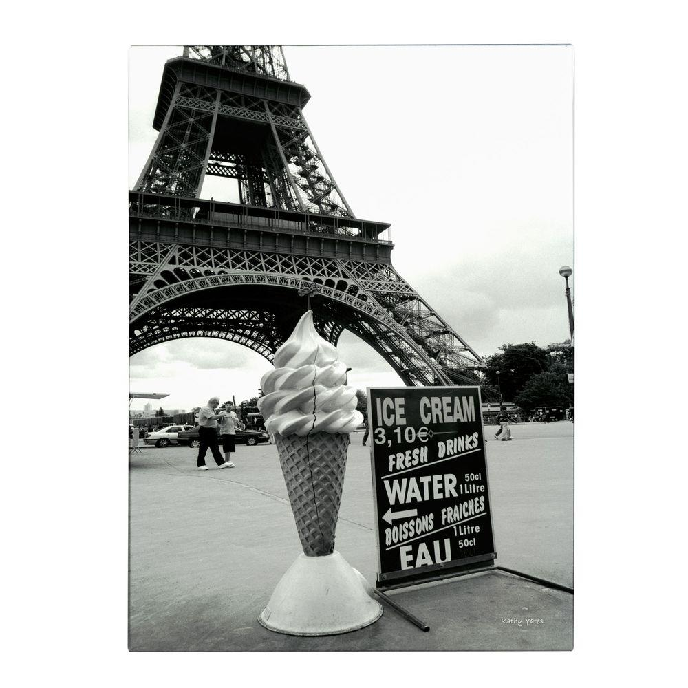 Trademark Fine Art 32 in. x 22 in. Eiffel Tower with Ice Cream Cone Canvas Art
