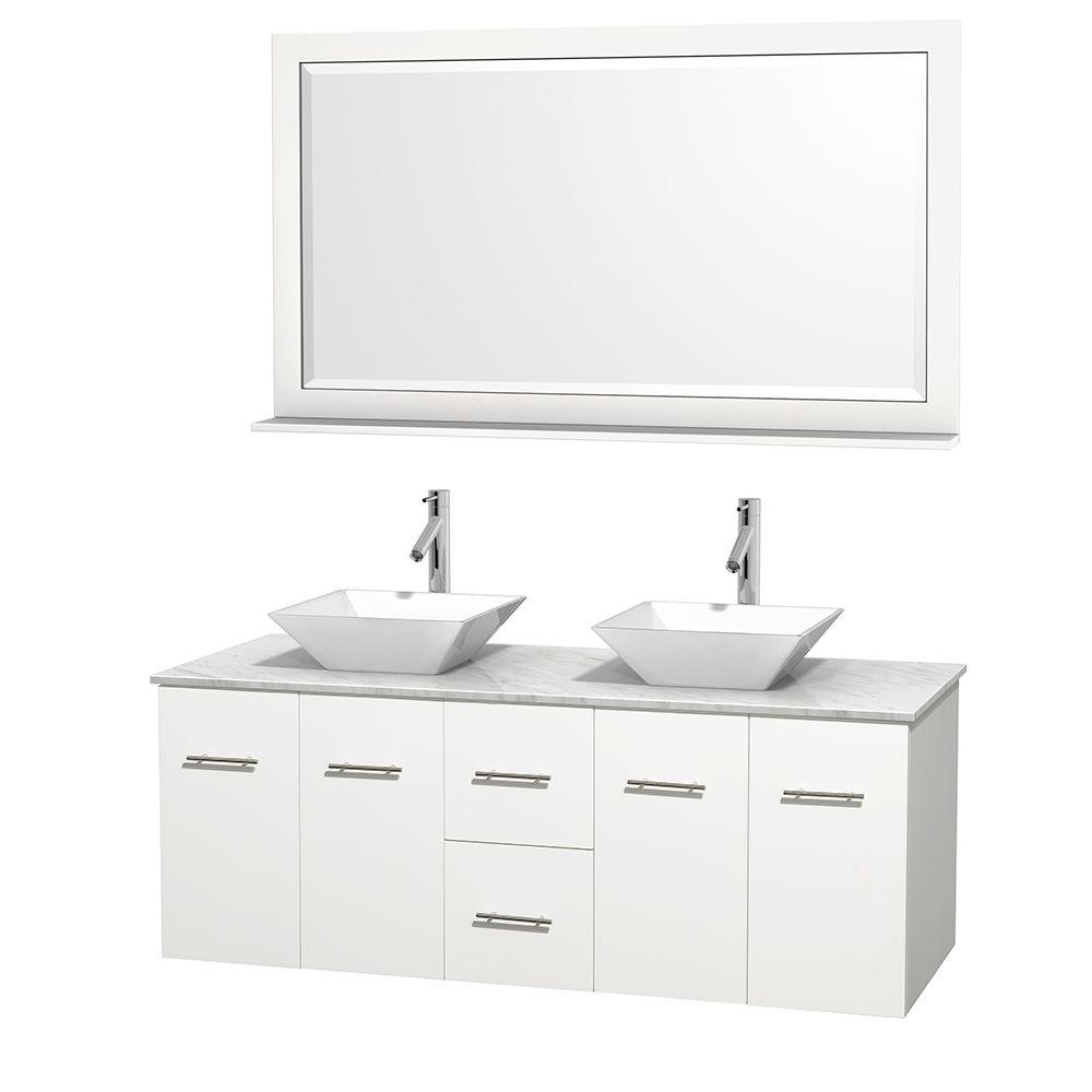 Wyndham Collection Centra 60 in. Double Vanity in White with Marble Vanity Top in Carrara White, Porcelain Sinks and 58 in. Mirror