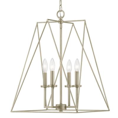 Ferncroft 4-Light Silver Ridge Pendant with Antique Nickel Accents
