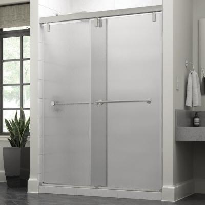Lyndall 60 x 71-1/2 in. Frameless Mod Soft-Close Sliding Shower Door in Chrome with 3/8 in. (10mm) Rain Glass