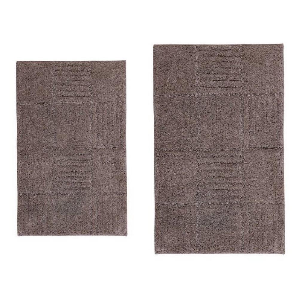 Stone 21 in. x 34 in. and 24 in. x 40 in. Chakkar Board Bath Rug Set (2-Piece)