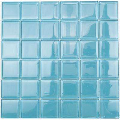 Contempo Turquoise 12 in. x 12 in. x 8 mm Polished Glass Floor and Wall Tile