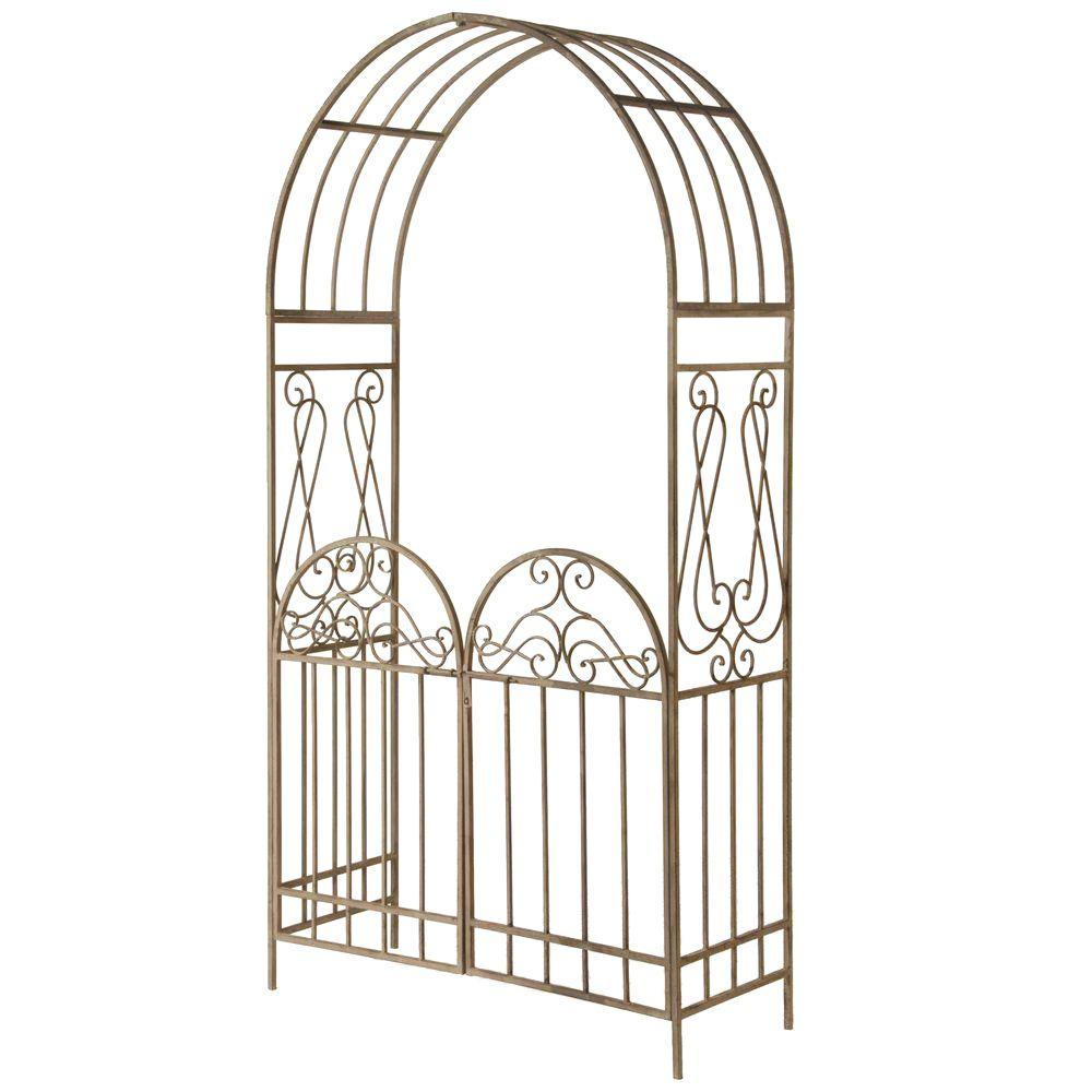 National Tree 93 in. Garden Accents Gated Archway, Green