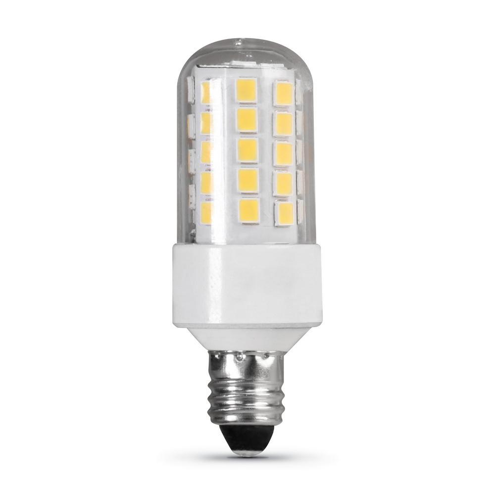 Mini Candelabra Base Led Bulb: Feit Electric 50-Watt Equivalent Bright White (3000K) T4