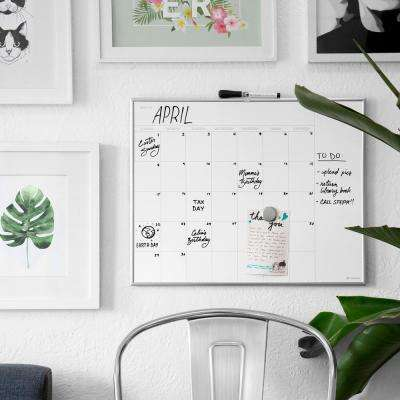 20 in. x 16 in. Silver Aluminum Frame Magnetic Monthly Calendar Dry Erase Board