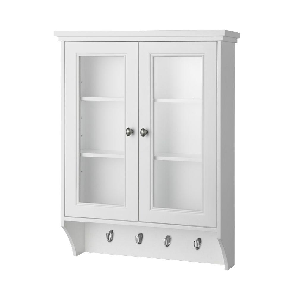 Home Decorators Gazette Storage Wall Cabinet Glass Door White