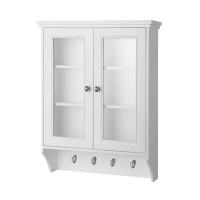 Gazette 23-1/2 in. W x 31 in. H x 7-1/2 in. D Bathroom Storage Wall Cabinet with Glass Door in White