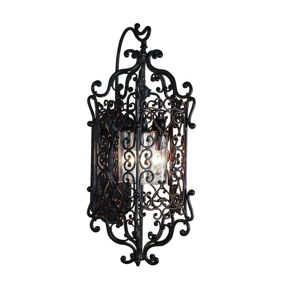 Eurofase Bravada Collection Wall-Mount 3-Light Outdoor Chestnut Sconce
