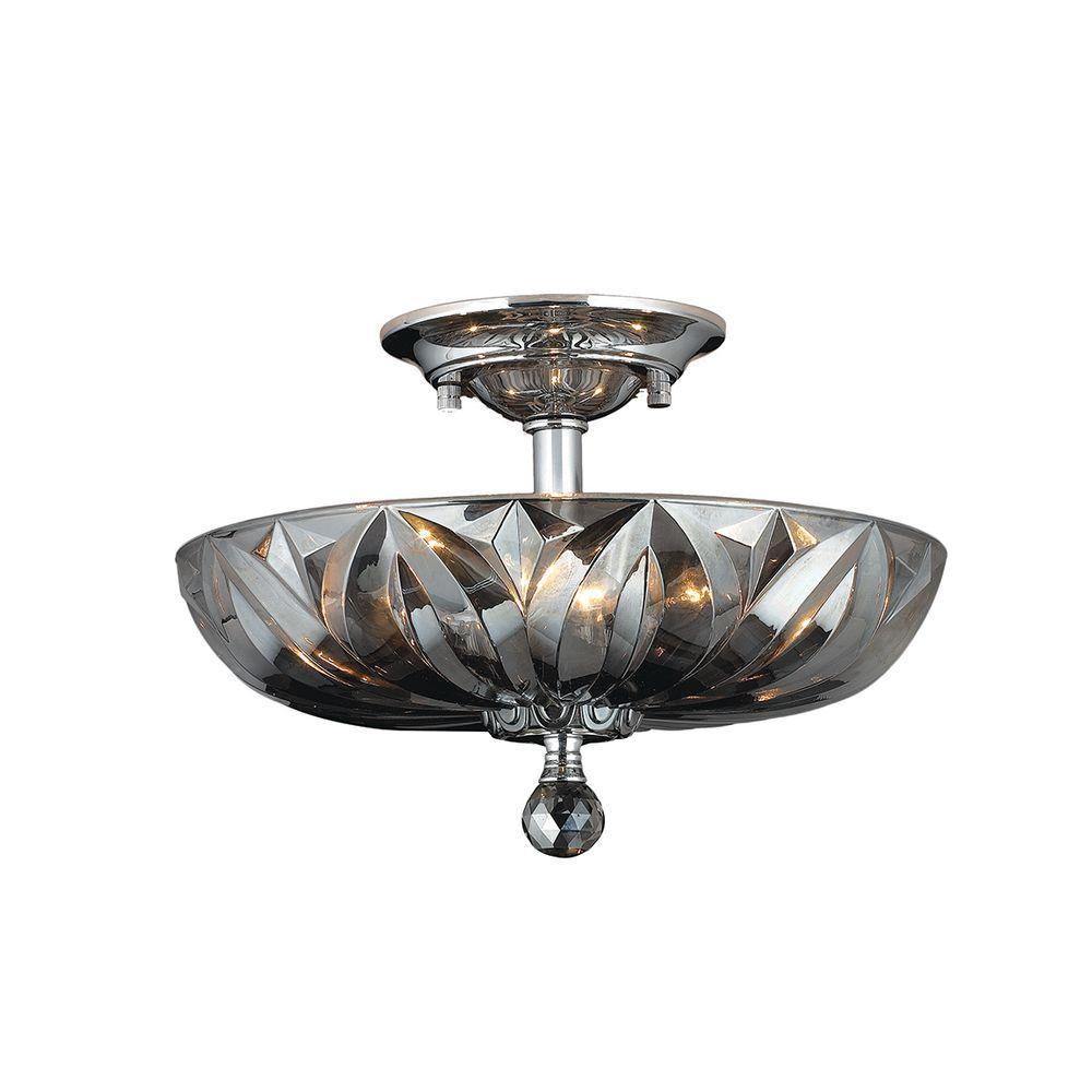 Worldwide Lighting Mansfield 4-Light Chrome and Smoke Crystal Semi ...