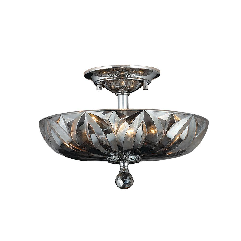 Worldwide Lighting Mansfield 4 Light Chrome And Smoke Crystal Semi Flush Mount