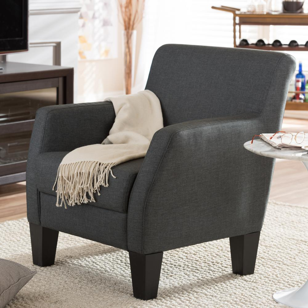 Baxton Gray Fabric Upholstered Accent Chair